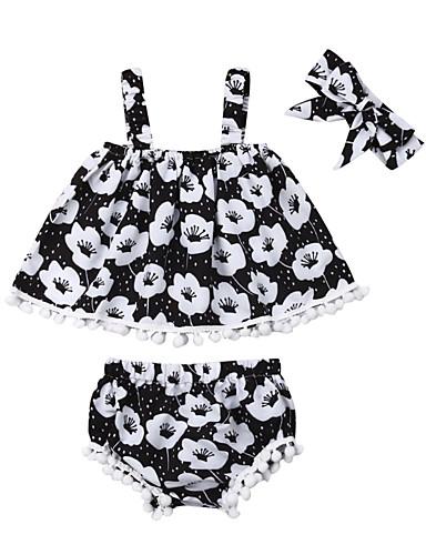 סט של בגדים כותנה ללא שרוולים פרנזים / דפוס פרחוני פעיל / בסיסי בנות תִינוֹק / פעוטות