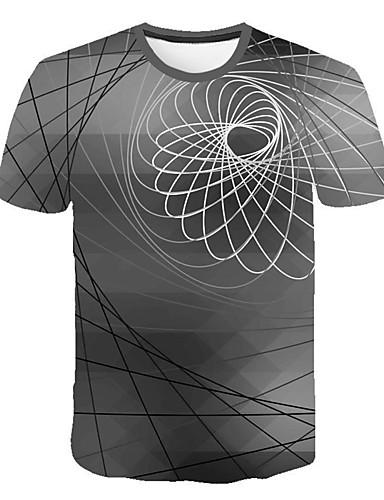 גיאומטרי / 3D צווארון עגול רזה סגנון רחוב / פאנק & גותיות מידות גדולות טישרט - בגדי ריקוד גברים אפור / שרוולים קצרים