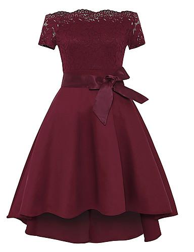 preiswerte Hochzeiten & Feste-A-Linie Schulterfrei Asymmetrisch Spitze / Jersey Vintage Inspirationen Cocktailparty Kleid mit Schleife(n) / Spitzeneinsatz durch LAN TING Express