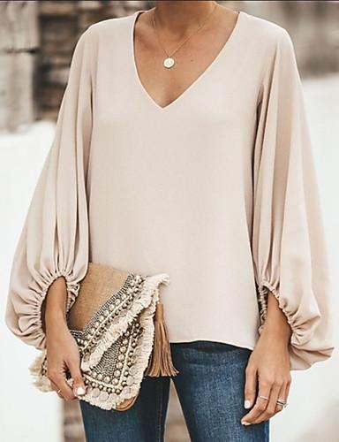 billige Dametopper-Løstsittende V-hals T-skjorte Dame - Ensfarget, Lapper Grunnleggende Grå