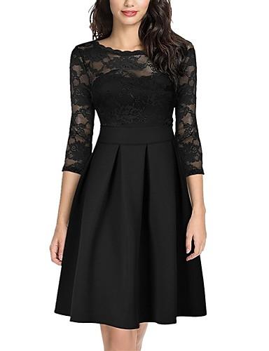 cheap Little Black Dresses-Women's Basic Elegant Skater Dress - Solid Colored Lace Patchwork Black Wine White S M L XL Belt Not Included