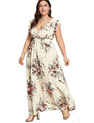 voordelige Grote maten jurken-Dames Wijd uitlopend Jurk - Bloemen Maxi