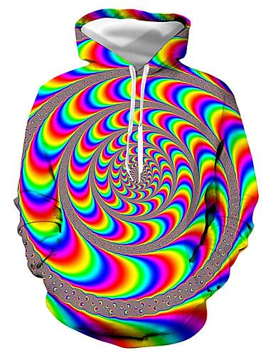 levne Pánské topy-Pánské - Barevné bloky / 3D / Grafika Základní / Přehnaný Mikiny a svetry s kapucí, Tisk Žlutá
