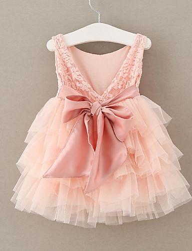 preiswerte Sommerurlaub Hot Sale-Kinder Mädchen Solide Kleid Rosa