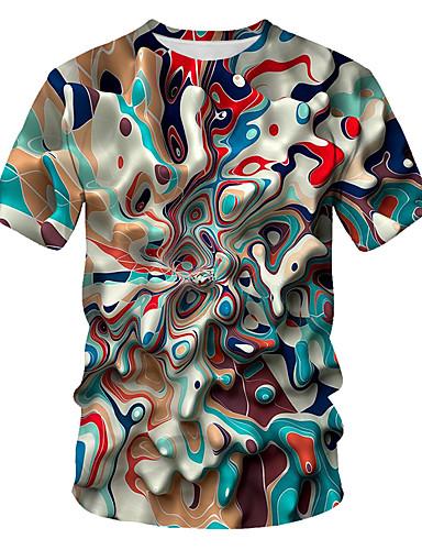 Rund hals EU / USA størrelse T-skjorte Herre - Geometrisk / Fargeblokk / 3D, Trykt mønster Grunnleggende / Gatemote Regnbue / Kortermet