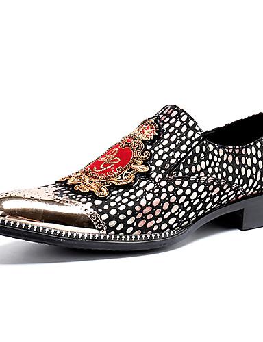billige Shoes & Bags Must-have-Herre Novelty Shoes Nappa Lær Vår / Høst vinter Fritid / Britisk En pedal Skli Leopard Svart / Gull / Fest / aften / Fest / aften / Pen sko
