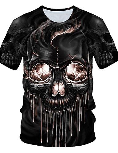 voordelige Heren T-shirts & tanktops-Heren Standaard / Street chic Print Grote maten - T-shirt Strand Kleurenblok / 3D / Doodskoppen Ronde hals Zwart / Korte mouw