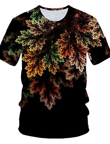 Rund hals Store størrelser T-skjorte Herre - 3D, Lapper Regnbue / Kortermet