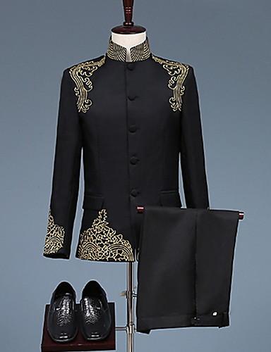 preiswerte Anzüge-Schwarz / Weiß Mit Mustern Weite Passform Polyester Anzug - Mandarine Einreiher - Mehr Knöpfe / Anzüge