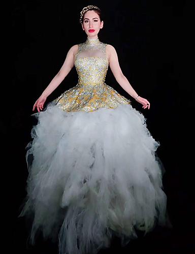 voordelige Shall We®-Exotische Dancewear Nachtclub jumpsuits / Club kostuum Dames Prestatie Spandex Combinatie / Kristallen / Bergkristallen Mouwloos Kleding