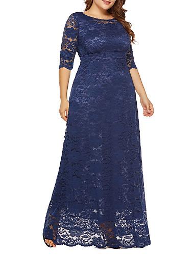 voordelige Grote maten jurken-Dames Grote maten Feestdagen Uitgaan Vintage Street chic Ruimvallend Chiffon Jurk - Effen, Kant Maxi Hoge taille / Hoge taille