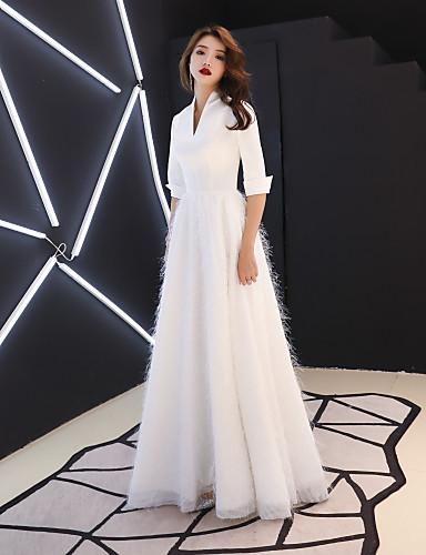 preiswerte Weiße Partykleider-A-Linie V-Wire Ausschnitt Boden-Länge Satin / Stretch - Satin Abiball Kleid mit Federn / Pelzl durch LAN TING Express