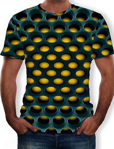 levne Pánská tílka-Pánské - Geometrický / 3D Šik ven / Přehnaný Tričko, Tisk Kulatý Fialová