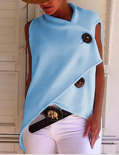 billige Topper til damer-Bomull Løstsittende T-skjorte Dame - Ensfarget, Lapper Grunnleggende Gul