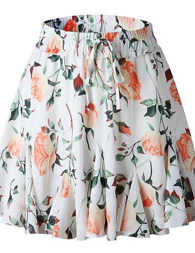 דפוס גיאומטרי - חצאיות מיני גזרת A סגנון רחוב / פאנק & גותיות בגדי ריקוד נשים לבן ורוד מסמיק M L XL