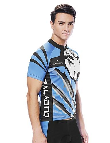 cheap Cycling-ILPALADINO Men's Short Sleeve Cycling Jersey Blue Animal Wolf Bike Jersey Top Road Bike Cycling UV Resistant Reflective Strips Back Pocket Sports Clothing Apparel