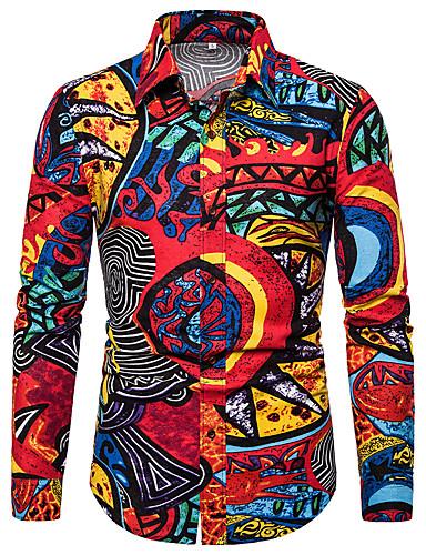 voordelige Herenoverhemden-Heren Standaard Print EU / VS maat - Overhemd Kleurenblok / Grafisch Rood / Lange mouw