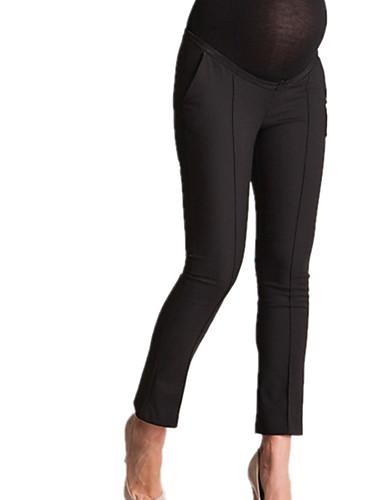 cheap Maternity Bottoms-Women's Basic Maternity Chinos Pants - Solid Colored White Black Navy Blue XL XXL XXXL