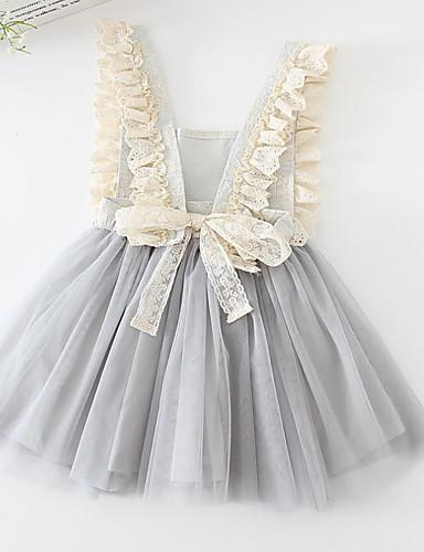 preiswerte Sommerurlaub Hot Sale-Kinder Mädchen Geometrisch Kleid Rosa