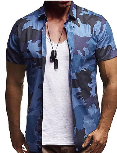 voordelige Herenoverhemden-Heren Street chic Overhemd Katoen camouflage blauw / Korte mouw