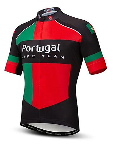 povoljno Odjeća za vožnju biciklom-21Grams Portugal Državne zastave Muškarci Kratkih rukava Biciklistička majica - Crna / crvena Bicikl Majice UV otporan Prozračnost Ovlaživanje Sportski Terilen Brdski biciklizam biciklom na cesti
