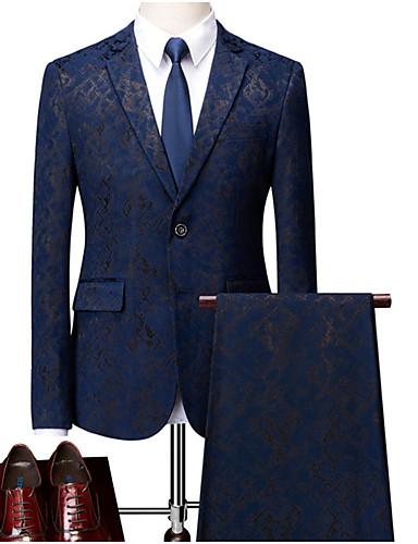 levne Pánské blejzry a saka-Pánské Větší velikosti Obleky, Geometrický Košilový límec Polyester Vodní modrá / Černá / Štíhlý