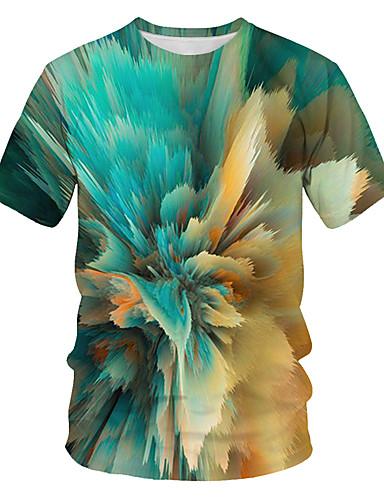 billige Dametopper-Løstsittende T-skjorte Dame - Fargeblokk / 3D / Grafisk, Trykt mønster Gatemote / overdrevet Klubb Lysegrønn
