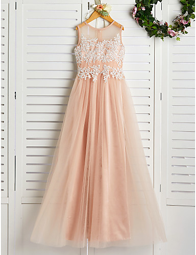 cheap Junior Bridesmaid Dresses-A-Line Jewel Neck Sweep / Brush Train Lace / Tulle Junior Bridesmaid Dress with Appliques
