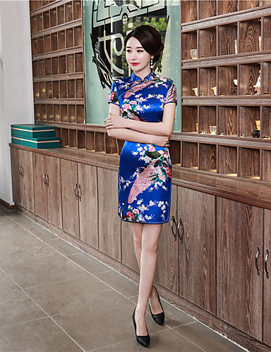 povoljno Maske i kostimi-Odrasli Žene Kineski stil Cheongsam Za Zabava i večer Klub Uniforme 100% poliester Iznad koljena Cheongsam