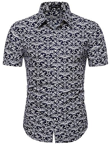 voordelige Herenoverhemden-Heren Print Overhemd Effen / Geometrisch / Grafisch Opstaande boord Zwart / Korte mouw