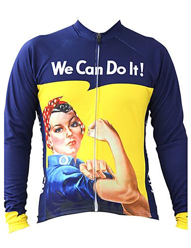 povoljno Odjeća za vožnju biciklom-21Grams Retro Rosie Riveter Žene Dugih rukava Biciklistička majica - Plava Bicikl Majice UV otporan Prozračnost Ovlaživanje Sportski Terilen Brdski biciklizam biciklom na cesti Odjeća / Quick dry