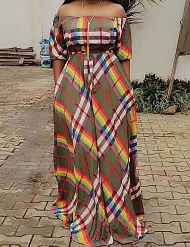 voordelige Maxi-jurken-Dames Tuniek Jurk - Geometrisch Schouderafhangend Maxi