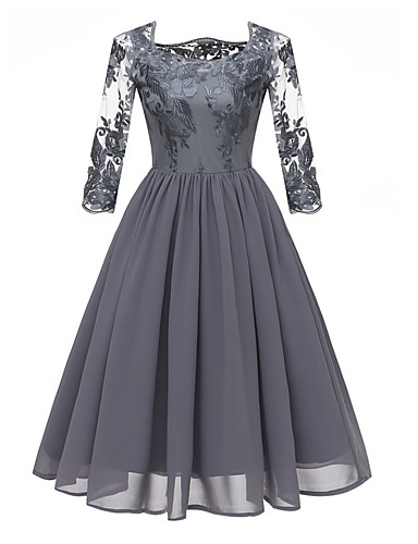cheap Women's Clothing-Women's A Line Dress - Floral Lace Blue Gray Wine L XL XXL