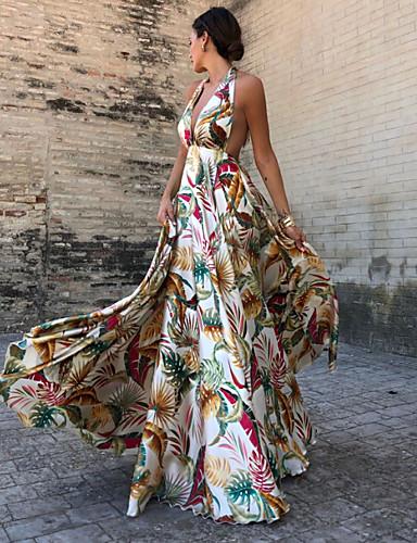 כתפיה מקסי שמלה גזרת A בגדי ריקוד נשים