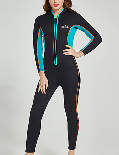 cheap Surfing, Diving & Snorkeling-SBART Women's Full Wetsuit 3mm SCR Neoprene Diving Suit Thermal / Warm Long Sleeve Front Zip - Diving Water Sports Solid Colored Autumn / Fall Spring Summer / Winter / Micro-elastic