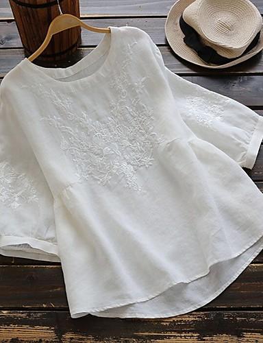 billige Dametopper-Bomull Løstsittende T-skjorte Dame - Blomstret / Tribal, Broderi Vintage / Chinoiserie Vin