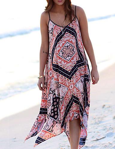 Жен. Уличный стиль С летящей юбкой Платье - Контрастных цветов, Пэчворк Ассиметричное
