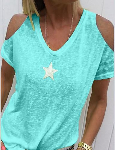 billige T-skjorter til damer-V-hals T-skjorte Dame - Ensfarget Grå