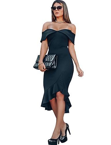 Жен. Облегающий силуэт Платье - Цветочный принт Ассиметричное