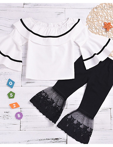 סט של בגדים שרוול ארוך גלקסיה / קולור בלוק בסיסי בנות ילדים