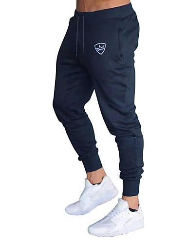 ราคาถูก ใหม่สำหรับผู้ชาย Ins-สำหรับผู้ชาย พื้นฐาน กางเกง Chinos กางเกงวอร์ม กางเกง - ลายแถบ สลับ สายผูก ฝ้าย สีดำ สีน้ำเงิน ทับทิม M / L / XL
