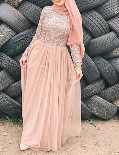 levne Maxi šaty-Dámské A Line Šaty Flitry Délka ke kolenům Dusty Rose