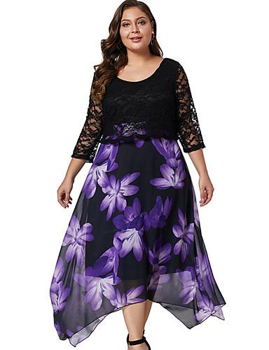 Жен. С летящей юбкой Платье - Цветочный принт, Кружева Средней длины