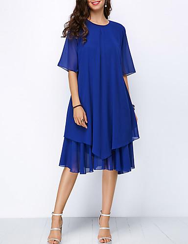 preiswerte Damenbekleidung-Frauen Midi eine Linie Kleid Chiffon blau S m L xl