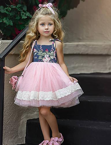 preiswerte Sommerurlaub Hot Sale-Baby Mädchen Aktiv Blumen / Patchwork Ärmellos Knielang Kleid Rosa