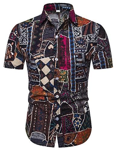 levne Pánské košile-Pánské - Etno Vintage Košile, Tisk Červená Fuchsiová