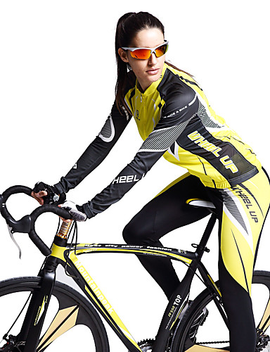 povoljno Odjeća za vožnju biciklom-Wheel up Žene Dugih rukava Biciklistička majica s tajicama Pink Geometic Bicikl Sportska odijela UV otporan Prozračnost Ovlaživanje Quick dry Sportski Geometic Brdski biciklizam biciklom na cesti