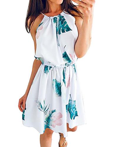 מעל הברך דפוס, פרחוני גיאומטרי - שמלה שיפון בסיסי בוהו בגדי ריקוד נשים