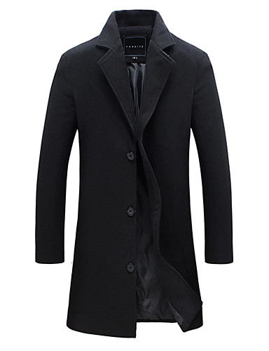 preiswerte Herren Blazer & Anzüge-Herrn Alltag Herbst Winter EU- / US-Größe Standard Jacke, Solide Steigendes Revers Langarm Polyester Schwarz