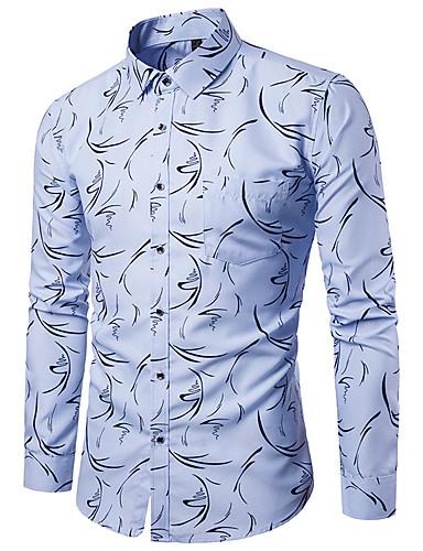 מנוקד / גראפי / שבטי צווארון קלאסי פאנק & גותיות מועדונים חולצה - בגדי ריקוד גברים דפוס לבן / שרוול ארוך